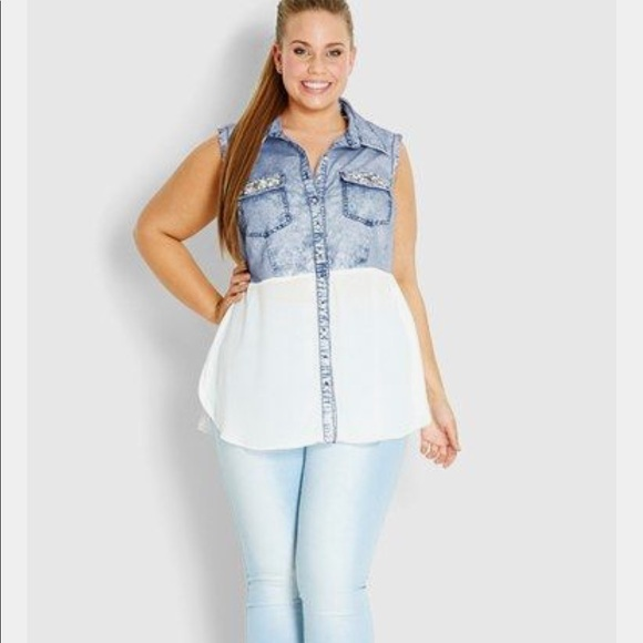 e36690465bd City Chic Tops - City Chic  Bejeweled  Denim Shirt